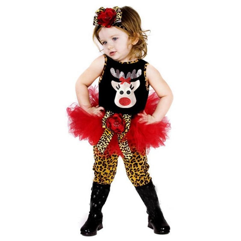 Cute Deer Childrens Christmas Costumes Baby Dress Leopard Pants