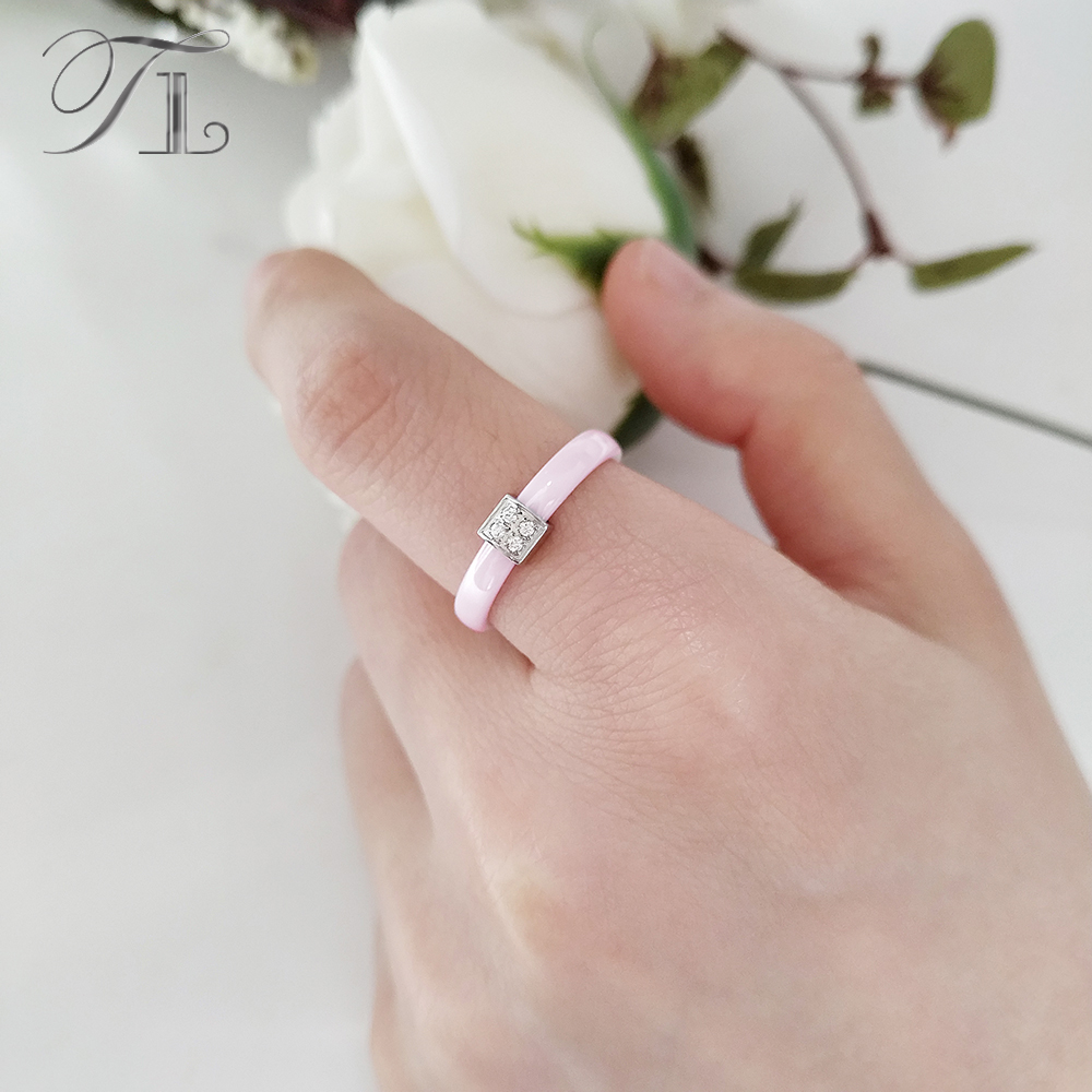 TL Pink Ceramic Ring For Women Stainless Steel Silver Zircon Cute ...