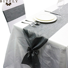 2017 new design Vintage Burlap Jute Imitated Linen Table Runner Rustic Wedding Banquet Party Decor with ribbons diy Bow as gift