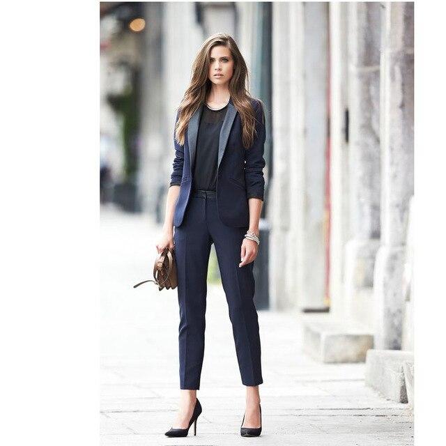 20f6767428d Заказ 2017 темно-женские деловые костюмы женские офисные форма элегантные  Брючные костюмы женские брючные костюмы