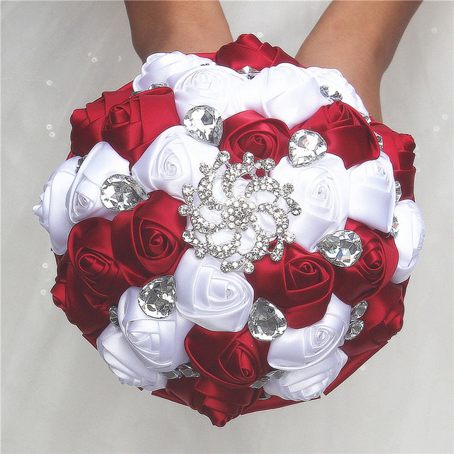 Burgundy Wine Red White Satin Rose Wedding Bridal Bouquet Diamond