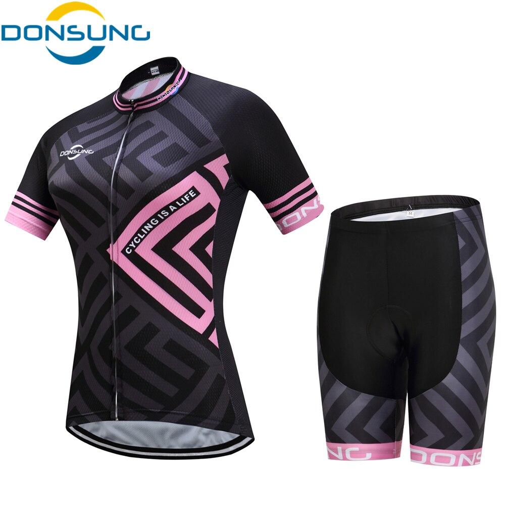DONSUNG Для женщин Vélo комплект велосипед велосипедной команды одежда короткий рукав на молнии гель дышащий Pad быстросохнущая велосипед Костюм...
