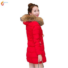 New 2017 Han edition Thicken Hooded fur collar Down jacket Cotton padded jacket Big yards Leisure