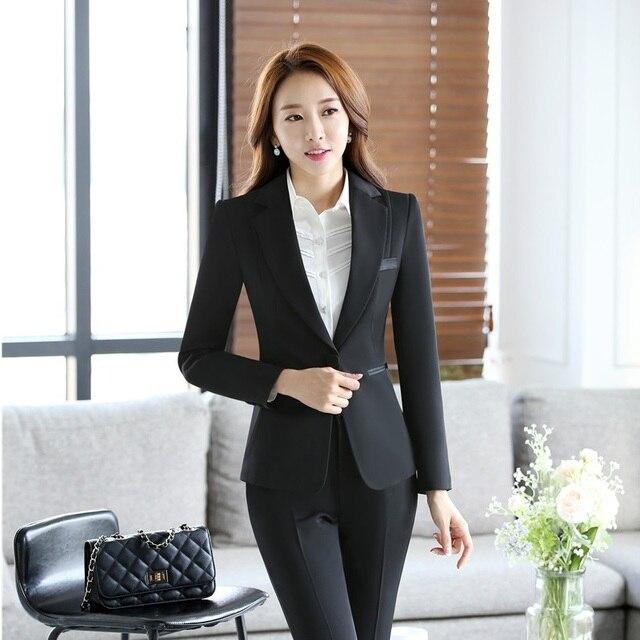 9bf18b9e22bd Formal Fashion Ladies Black Blazers Women Jackets Long Sleeve Elegant Female  Business Clothes Office Uniform Style OL