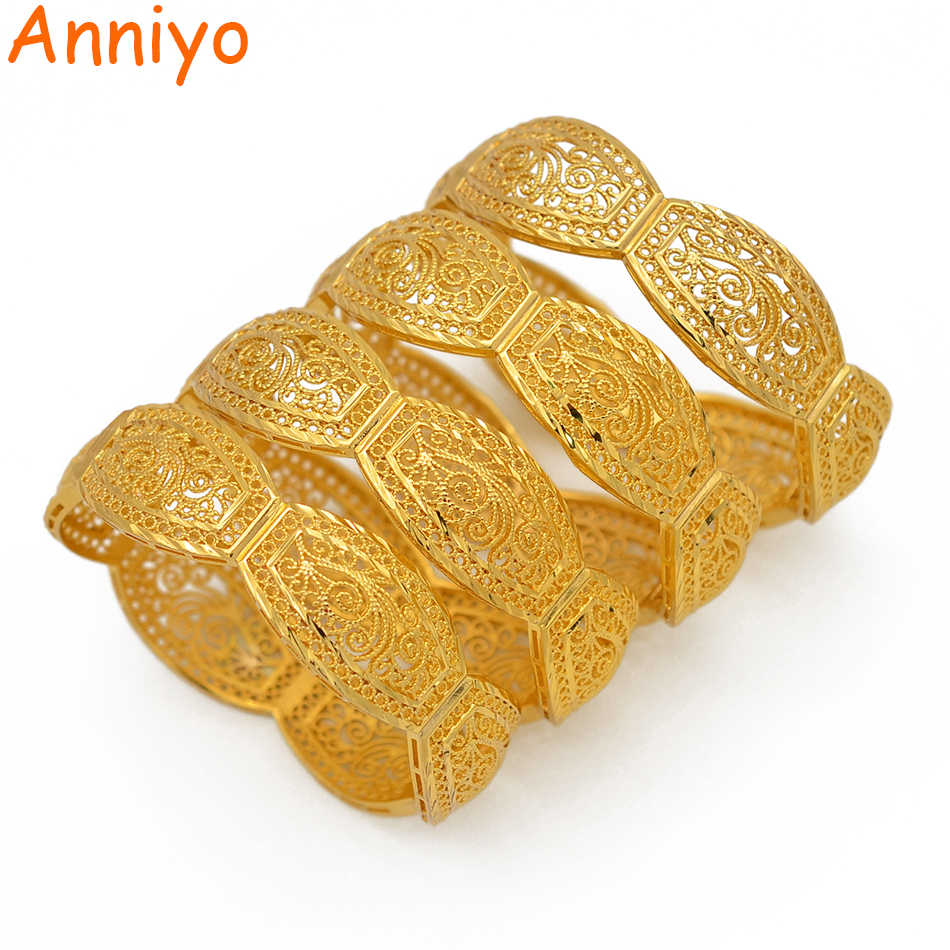 Anniyo 4Pieces/Openable Dubai Bangles Ethiopian Bracelets&Bangles for Women African Wedding Jewelry Arabic Middle East #208406