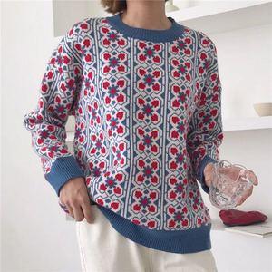 Image 3 - Vintage doux multicolore Plaid Jacquard tricot Pull femmes à manches longues en vrac dames pulls décontracté Pull Femme C 424