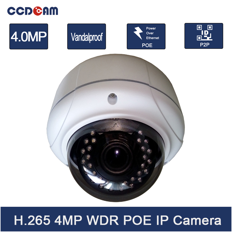 4MP H.265 IP Camera POE Vandalproof 2.8-12mm Varifocal lens IR Night Vision Onvif P2P Full HD CCTV Security Camera Free Shipping