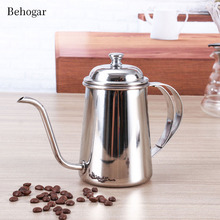 Behogar 650ml Elegant Stainless Steel Gooseneck Spout Kettle Long Mouth Drip Coffee