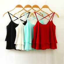Chiffon Short Cross Straps Sexy Crop Top 2017 Summer Casual Ruffles Solid Tank Top Black White Red Plus Size Bustier Women Tops