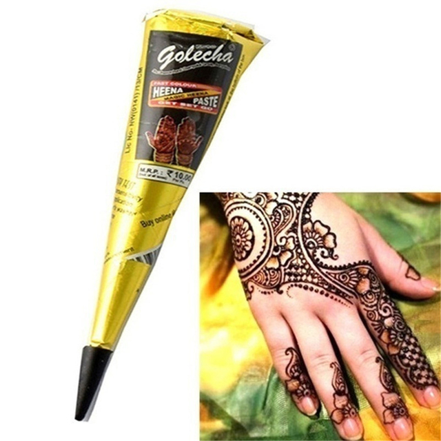 6b086f950 New Black brown red white Henna Cones Henna Tattoo Paste For Temporary  Tattoo body art Sticker Mehndi Body Paint Tattoo cream