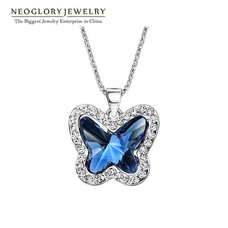 цена Neoglory Jewelry Blue Rhinestone Pendant Fashion Necklace Butterfly Choker For Women 2018 New Gifts