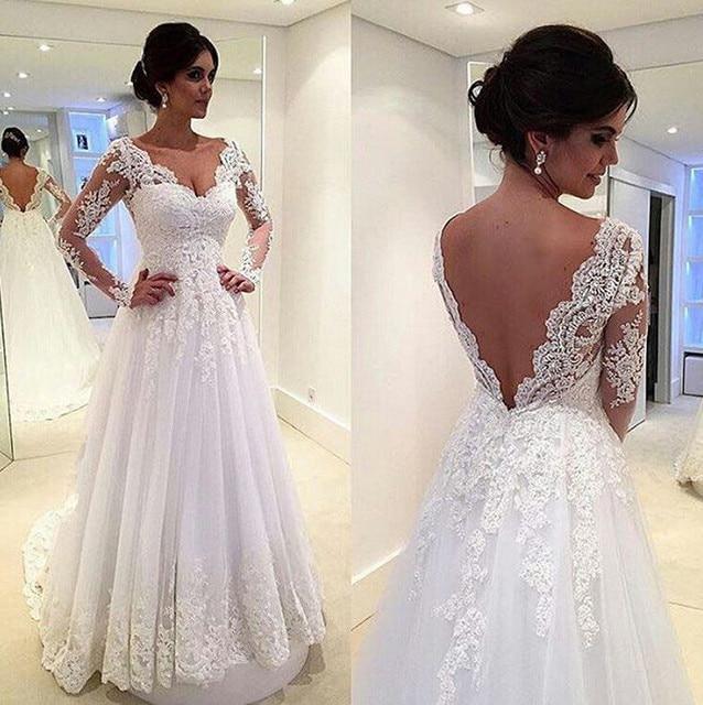Hq Beautiful Lace Wedding Dresses V Neck A Line Liques Open Back Long Sleeve