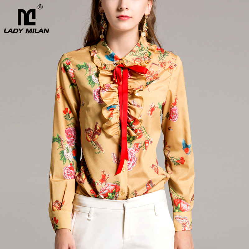 New Arrival 2018 Spring Womens Peter Pan Collar Long Sleeves Floral Printed Lace Up Ruffles Elegant Runway Shirts