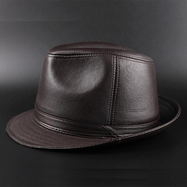 Genuine Sheepskin Leather High Quality Men's Black Sun hat For Gentleman Winter Warm Church SomBrero Fedora hat 20