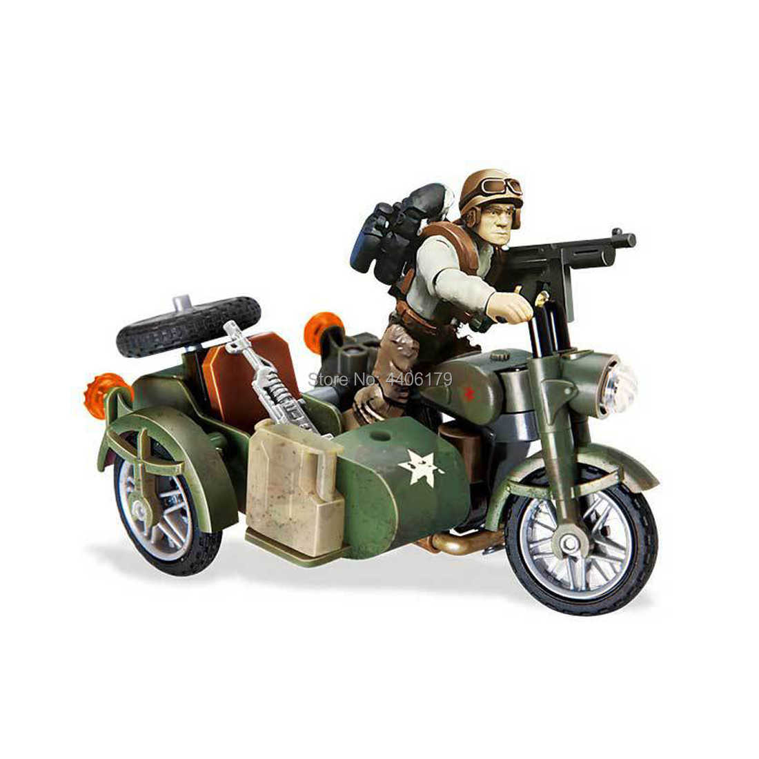 hot military ww2 motorcycle cavalry Assault war Building Blocks soldier figures weapons moc model bricks toys for children gift