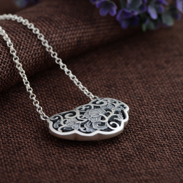 BALMORA 100% Real 925 Sterling Silver Jewelry Retro Hollow Flower Pendant Necklaces for Women Lover Accessories Bijoux JLWC80731