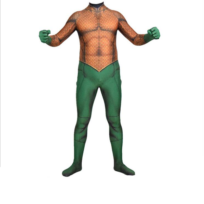 Movie Justice League Aquaman Cosplay Costume Bodysuit Men Boys Aquaman Superhero Halloween Party Zentai Suit