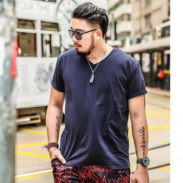 2017 Summer Color Big size shirt XL Black male men oversize half sleeve T- shirt collar short sleeved red fat V plus size 7XL 6XL f3652ac5a1ff