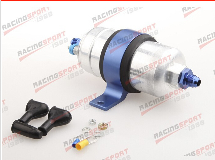 Top External Fuel Pump 044+Billet Bracket Black+8AN Inlet 8AN Outlet Blue