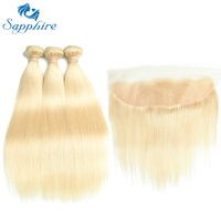 Sapphire Remy Hair 613 Blonde Hair With Closure Malaysian Hair Straight 3 Bundles With Closure Human