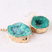 1 Pair Druza Slice Natural Stone Earring Gold Agat Agates Crystal Pendant Earrings Female Jewelry
