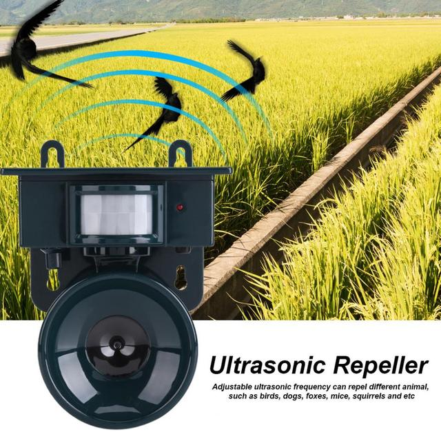 Ultrasonic Bird Repeller Solar Powered PIR Motion Sensor Ultrasonic Pest Repeller Bird Dog Cat Fox Mouse Chaser