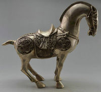Collectible home Decorated Old Handwork Tibet Silver Carve Big Zodiac Horse Sculpture fengshui Statue metal crafts