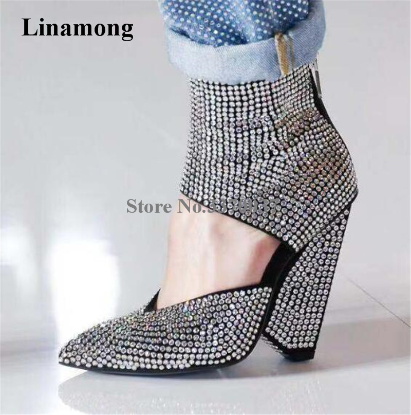 Newest Women Pointed Toe Bling Bling Rhinestone Spike Heel Short Boots Cut out Ankle Wrap Crystal