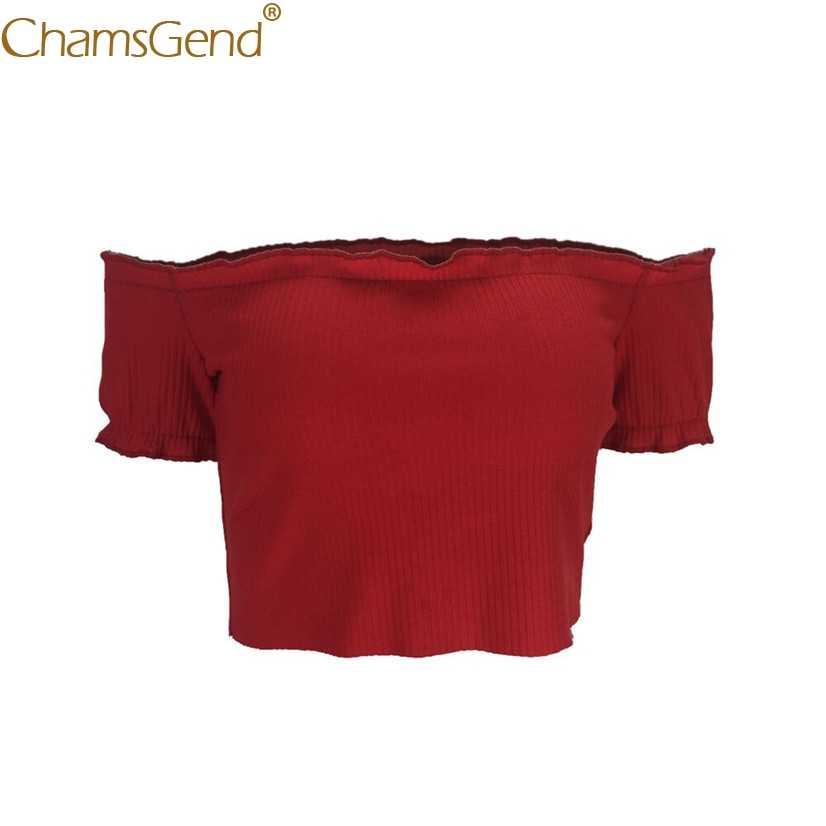 משלוח חינם נשים סקסי מוצק סטרפלס כבוי כתף שרוול קצר יבול חולצות הקיץ T חולצה 80521