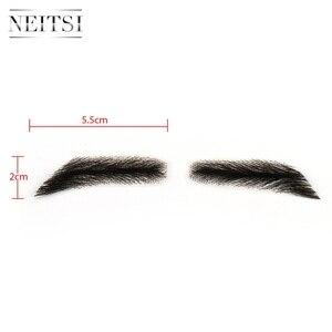 Image 5 - زوج واحد من Neitsi Man الحاجبين وهمية 100% شعر الإنسان الحاجبين وهمية الدانتيل قاعدة M1002