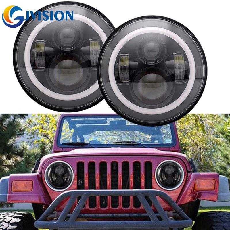 Для Jeep Вранглер JK светодиодные лампы для автомобилей 40 Вт 7 дюймов гало глаза ангела автомобиль фары комплект 12 В 24 В светодиодные фары для Hummer Лада Нива 4х4