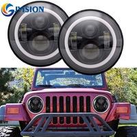 For Jeep Wrangler JK LED car lamps 7 inch 40W Halo angel eyes auto headlight Kit 12V 24V LED Headlamp for Hummer Lada Niva 4x4