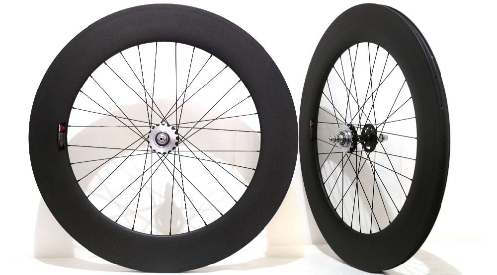 Full carbon 700C track carbon wheels 88mm clincher fixed gear single speed bicycle carbon wheelset track carbon wheelset 88mm clincher bike wheels track single speed cycling wheels flip flop fixed gear novatec hubs 700c