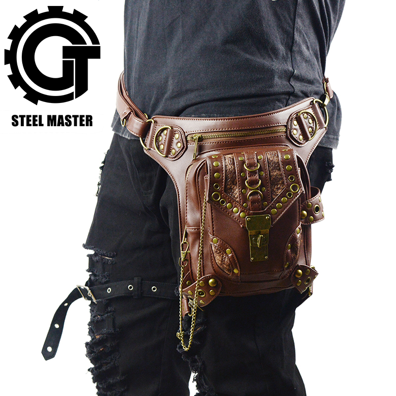 Cool SteamPunk Leather Waist Bag Retro Brown Crossbody Bag Rock Men Women Gothic Black Fanny Packs Fashion Motorcycle Leg Bags