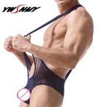 все цены на Men's Onesies Underwear Breathable Net Yarn Transparent Jumpsuits Sexy Men Briefs Hanging Neck Singlet Homme Hombre Jumpsuits онлайн