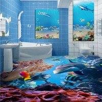 Ücretsiz Kargo HD Deniz Dünya 3D Kat kalınlaşmış yatak odası mutfak alışveriş merkezi oturma odası banyo döşeme duvar kağıdı duvar