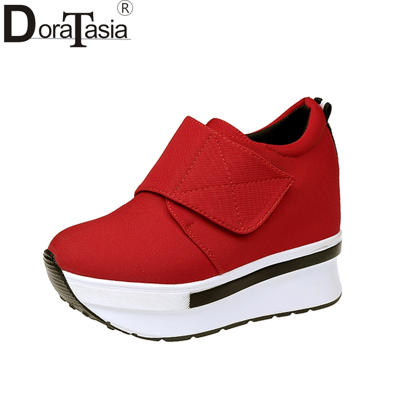 DoraTasia 2018 Fashion size 35-40 black red vulcanize shoes women casual hook&loop comfortable thick bottom woman Sneaker shoes topsell 2017 men women 3 casual shoes black red white solomons runs breathable shoes free shipping size 40 46 speedcros