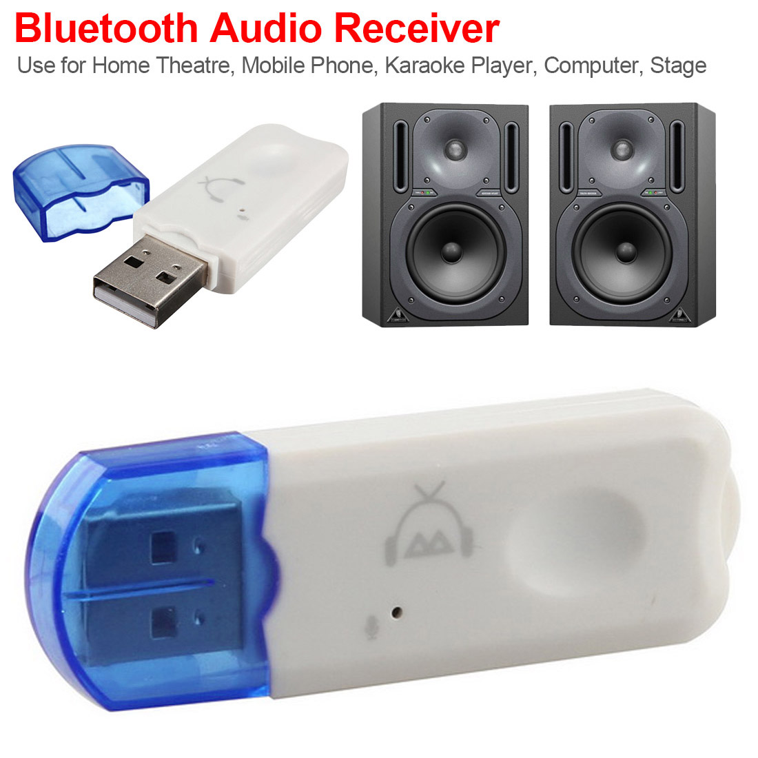 Mini Portable USB Wireless Bluetooth V2.1Stereo Music Audio Receiver Adapter Handsfree For TV Car Home Speaker