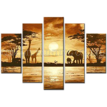 Expert Artist Pure Hand painted High Quality Impression Landscape Oil Painting on Canvas Giraffe and Elephant Oil Painting