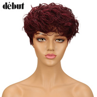 Debut Brazilian Human Hair Wig DYF1B/RED Ombre Color Water Wave Remy Hair Short Human Hair Wigs For Black Women Mohawk Hair wigs