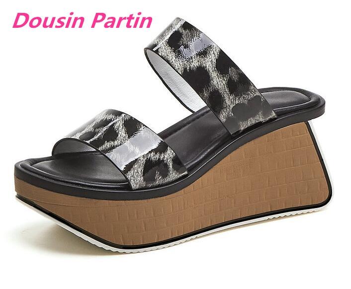 Dousin Partin 2019 Women Sandals Platform Fashion Leopard Cow Leather Round Open toed Strange High Heel