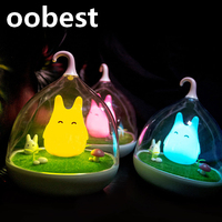 Oobest Colorful Totoro Silicone LED Night Light Rechargeable Touch Sensor Light 2 Modes Children Cute Night
