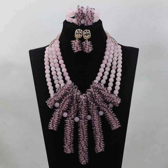 Gorgeous Peach African Bead Wedding Necklace Set Crystal Rhinestone Seed Beads Pendant Necklace Jewelry Set Free Shipping WD512 gorgeous rhinestone geometric bead chain tassel necklace for women
