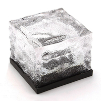 2Pcs Waterproof Solar Path Ice Cube Lights Color Changing RGB LED Frosted Glass Brick Rock Lamp