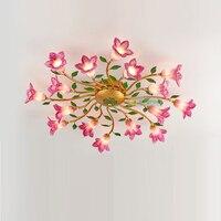 Europe Vintage Creative Flower Light Classical Ceiling Lamp Bedroom Living Room Ceiling Lights Simple Modern Warm