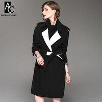 Otoño invierno mujer trench coat negro rodilla foso con cinturón faja blanca normcore dentro de la moda más tamaño trench largo escudo