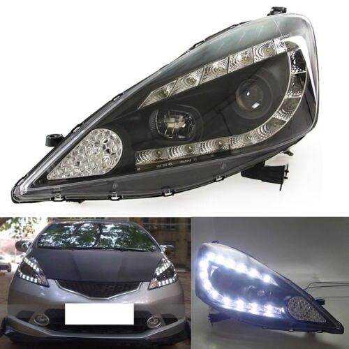 U-Tube Style LED DRL HID Black Headlights Set For honda Fit/Jazz Hatchback 09-12 цена 2017