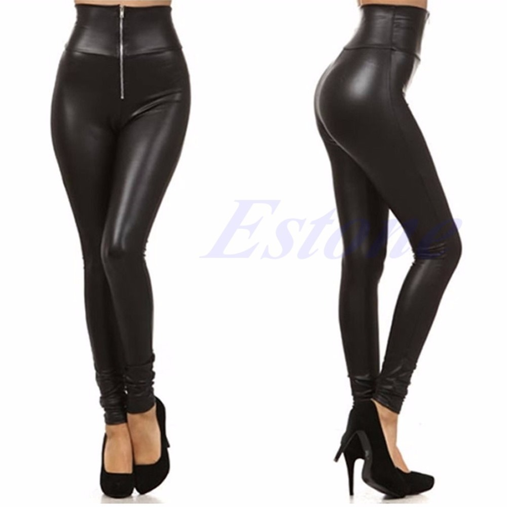 Sexy Lady Woman Faux Leather   Leggings   Zip Up Patchwork HighWaist Elastic Pants
