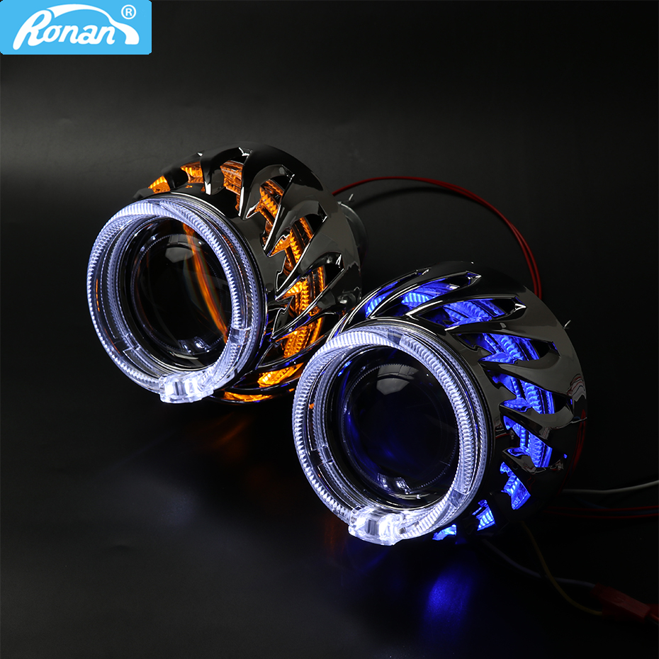 RONAN 2.5ver8.1 bixenon H1 projector lens H4 H7 socket screw double LED optical white angel eyes car styling retrofit headlightRONAN 2.5ver8.1 bixenon H1 projector lens H4 H7 socket screw double LED optical white angel eyes car styling retrofit headlight
