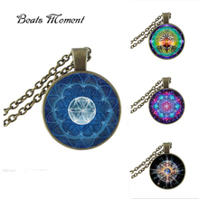 Цветок жизни Кулон Ожерелье B & M 2016 Новая Мода Круглый Стеклянный Цветок жизни Подвески Lampwork Murano стекло Ожерелье